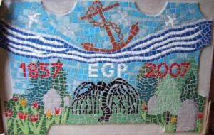 The Pleasaunce mosaic plaque, based loosely on an original design by Jane Lydbury, who also designed the Friends logo