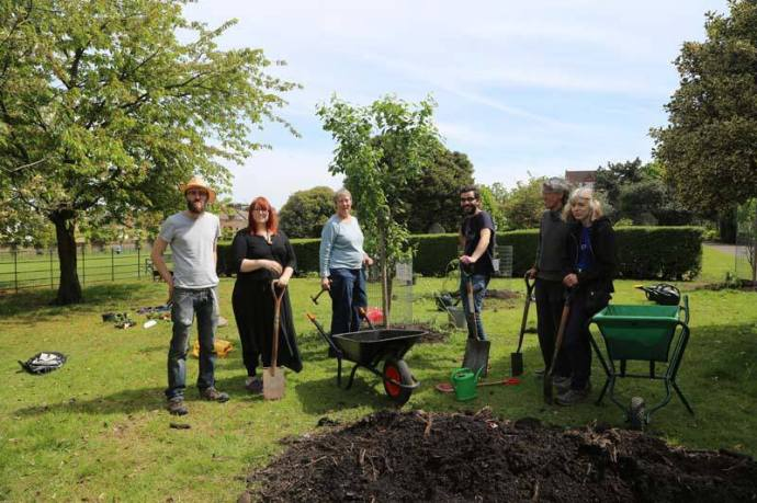 Part of the volunteer term caring for the orchard